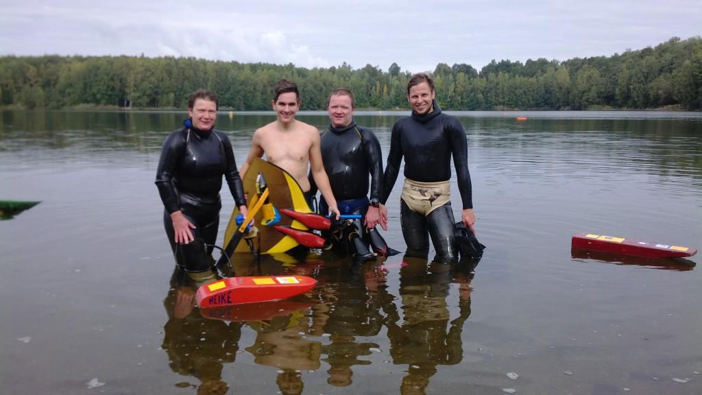Die Delitzscher Mannschaft mit Heike Preuß, Philip Nathrath, Dirk Preuß und Willi Krause (von links)