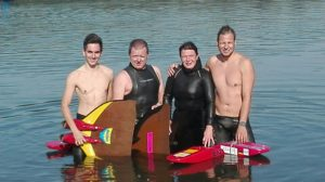 Die Delitzscher Orientierungstaucher mit Phillip Nathrath, Dirk und Heike Preuß sowie Willi Krause (von links)